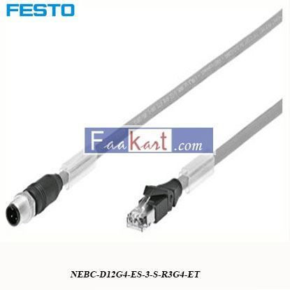 Picture of NEBC-D12G4-ES-3-S-R3G4-ET FESTO 4 Pin D-coded to RJ45 Cable