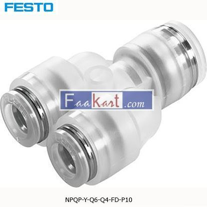 Picture of NPQP-Y-Q6-Q4-FD-P10 Festo NPQP Pneumatic Y Tube-to-Tube Adapter