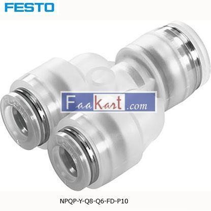 Picture of NPQP-Y-Q8-Q6-FD-P10  Festo NPQP Pneumatic Y Tube-to-Tube Adapter